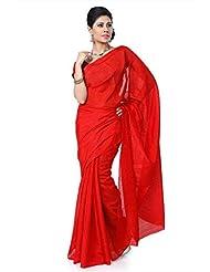 Designersareez Women Bhagalpuri Silk Printed Red Saree With Unstitched Blouse(1427)