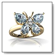 Aquamarine Butterfly Ring