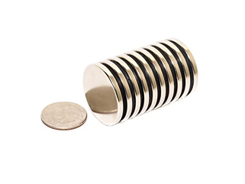 Revitalizaire N42 Neodymium Disc Magnets 1.3 Inch x 1/8 Inch 10-Pack. Powerful NdFeB Rare Earth Magnets Coated with Thick Nickel