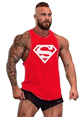 Gillbro T-shirt Mens GYM muscolare allenamento bodybuilding Canotta Superman modello, C, L