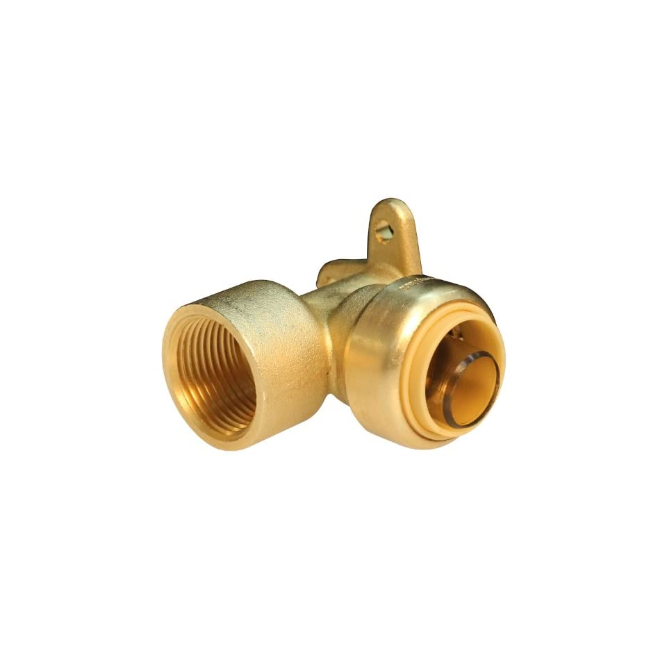Push Connect PC LF813D 1/2 Inch Push by 1/2 Inch FNPT, Lead Free Brass Push Fit Elbow Drop Ear