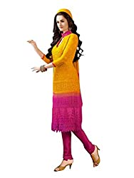 Isha Enterprise Women's Chiffon Dress Material(KFD210-1598_Yellow , Pink)