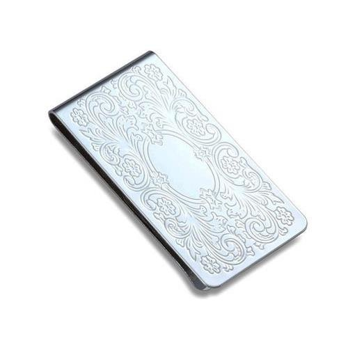 gifts-for-him-her-iron-money-clip-chrome-plated-floral-pattern-in-poly-bag-box