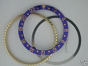 Rotating Bezel+Insert for Rolex New GMT 18ky Blue Parts