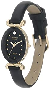 Armitron Women's 753248BKBK NOW Diamond Accented Gold-Tone Black Leather Watch