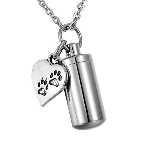 HooAMI Pet Dog Paw Heart Charm & Cylinder Memorial Urn Necklace Stainless Steel Cremation Jewelry (Pet Dog Urns compare prices)