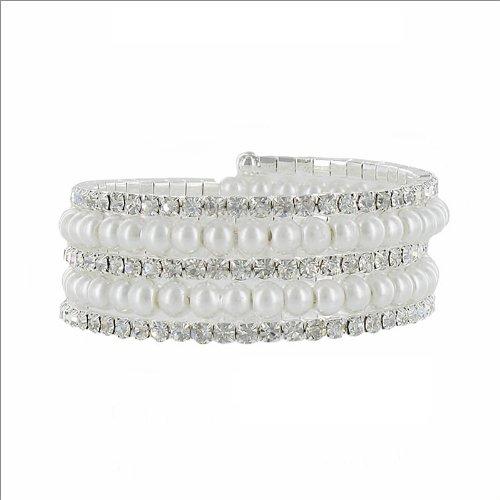 JOA 5 Line Pearl & Rhinestone Swirl Bracelet #034857