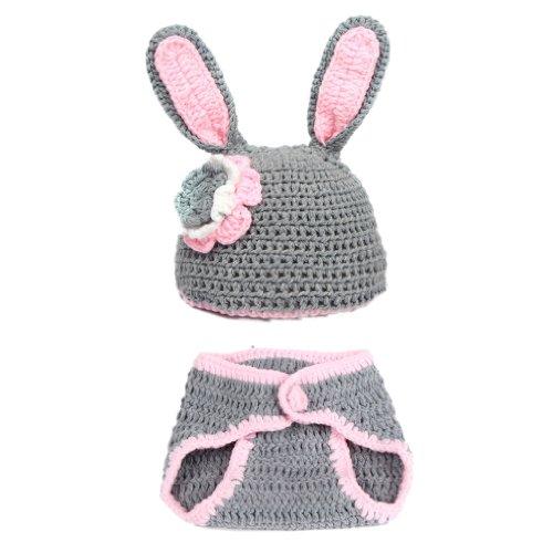 La vogue Beanie Sombrero Ropa Disfraz Fotografía Proposición Para Bebé Forma De Conejo Gris Y Rosa