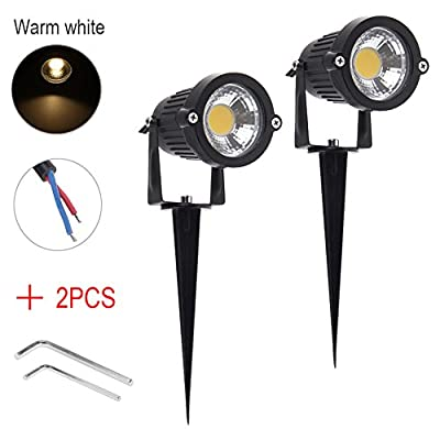 ISWEES 2 Packs Bright Outdoor Lamp High Power Garden Decor Lights 5W COB LED Landscape Driveway Stairs Wall Yard Path Lighting AC/DC 12V with Spiked Stand, Warm/Cold White