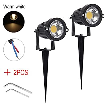 ISWEES 2 Packs Bright Outdoor Garden Decor Lamp Lights 5W COB LED Landscape Driveway Wall Yard Path Lighting DC 12V with Spiked Stand, 2800K Warm White + 2pcs Allen Wrench