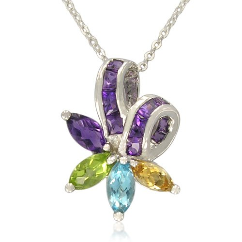 Sterling Silver Flower Shape Multi-Color Gemstones Pendant Necklace with 18