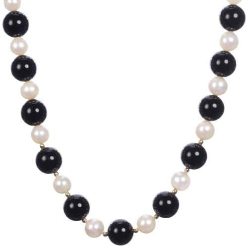 Gold Plated Silver Black Onyx with Alternating White Freshwater Cultured Pearl Bead Necklace,18