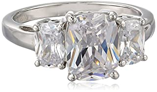 Charles Winston Sterling Silver Cubic Zirconia Radiant Cut Trinity Ring, Size 8