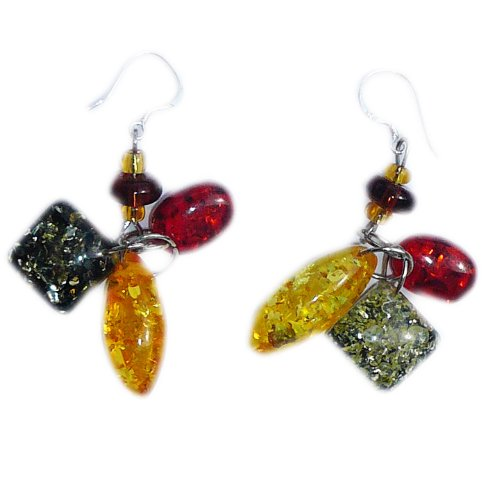 3 colors Amber Earrings on 925 sterling silver hooks