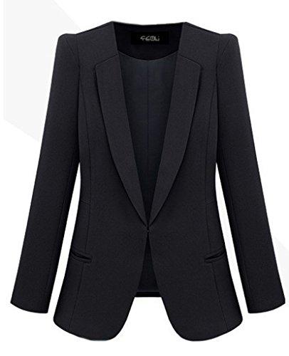 BELLA-Giacca Slim Donna di Poliestere Giacca OL Abbigliamento Donna Nero Petto 100cm