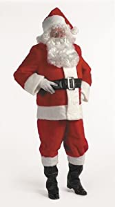 10pc Complete Plush Santa Suit Adult Christmas Costume Size 50-56 X-Large (XL)
