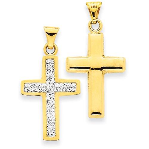 14k Reversible Crystal Latin Cross Pendant