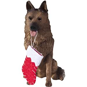Sandicast German Shepherd with Stocking Christmas Ornament