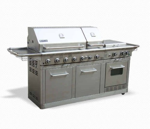 Jenn air deluxe outdoor gas kitchen grill oven stainless for Gas grill tops outdoor kitchen