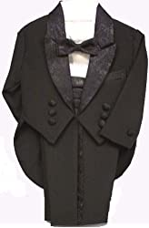 Boys Formal Dress Tuxedo with Tails & Cummerbund Ringbearer Wedding Wear