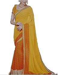 360 Degree Bhagalpuri Women's Georgette Sarees(360 Degree 02_Yellow_FreeSize)