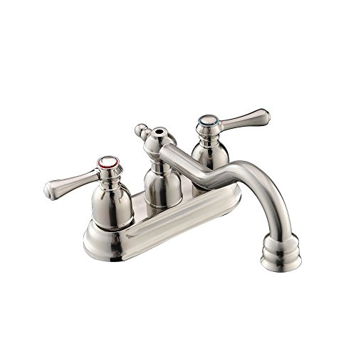 Modern Low Arc Two Handle Widespread Bathroom Faucet, Brushed Nickel Lavatory Bathroom Vanity Faucet With Drain Assembly (Antique Nickel Faucet compare prices)