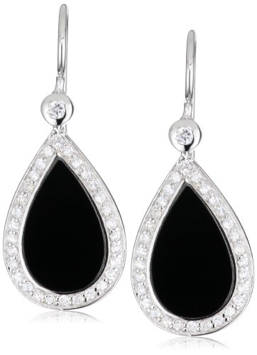 Giorgio Martello Sterling Silver Rhodium Plated Black Onyx and Cubic Zirconium Earrings
