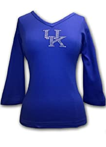 NCAA Kentucky Wildcats Ladies Plus V-Neck 3 4 Sleeve Knit Pullover T-Shirt with... by Collegiate Fashionista