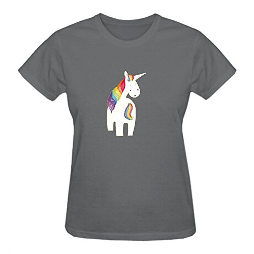Unicorn Rainbow Tee Shirts Women Round Neck Grey (Rainbow Tye Dye Shorts compare prices)