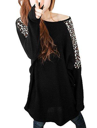 allegra-k-leopard-prints-long-batwing-sleeve-stretch-loose-tunic-shirt-for-women-black-l-uk-16