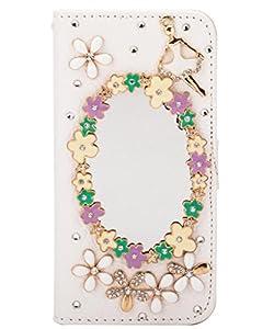 Unendlich U Schmuck 3D glänzen Strass und Spiegel Brieftasche mit Ständer Halter Kreditkarte Karte mit Handy Ledertasche Schutz Hülle für iPhone 5/5S