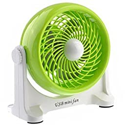 Pixnor No.518 2-Mode 180-degree Rotary Plastic USB Powered Mini Desktop Fan for PC / Laptop / Notebook (Green)