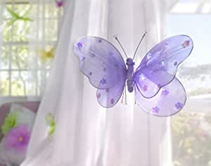 """Hanging Butterfly 22"""" X-large Purple Nylon Butterflies with Sequins and Glitter for Baby Nursery Bedroom, Girls Room Ceiling Wall Décor, Wedding Birthday Party, Baby Bridal Shower Butterfly Decoration (Free Shipping Us)"""