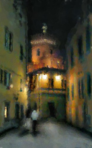 "0010917 Canvas Art for Home Decor – REGISTERED ARTWORK ""Night in an Old Town"" by Lena Kashigin, Artist Hand Finished and Signed, 20×32 Stretched Gallery Wrap Ready to Hang, National Fine Arts Registry Title."