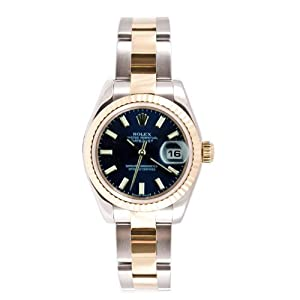 Rolex Ladys New Style Heavy Band Stainless Steel & 18K Gold Datejust Model 179173 Oyster Band Fluted Bezel Blue Stick Dial
