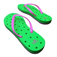 Neon Stars Green Pink Antimicrobial Shower Sandal Water Flip Flop Sports Dorm Gym Pool Camp (13/1)
