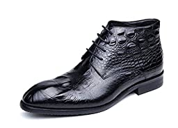 CAMSSOO Men\'s Lace Up Flats Leather Business Ankle Boots Black Cow leather 10 M US