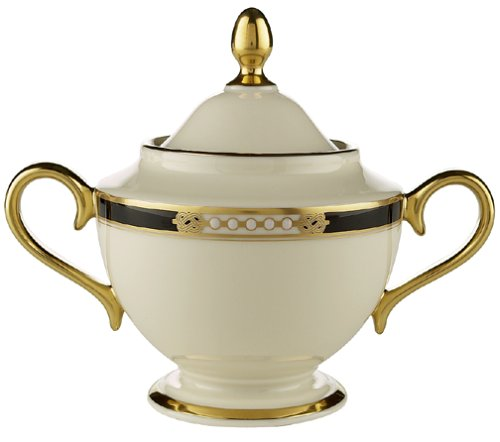 Lenox Hancock Gold-Banded Fine China Sugar Bowl With Lid
