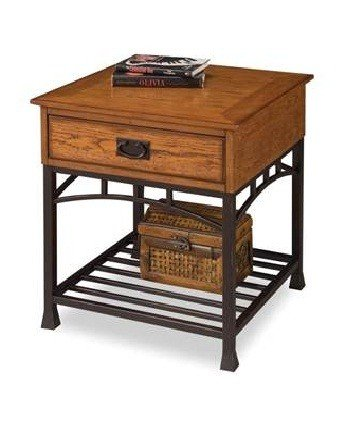 Cheap End Table Modern Craftsman Style in Distressed Oak Finish (VF_HY-5050-20)