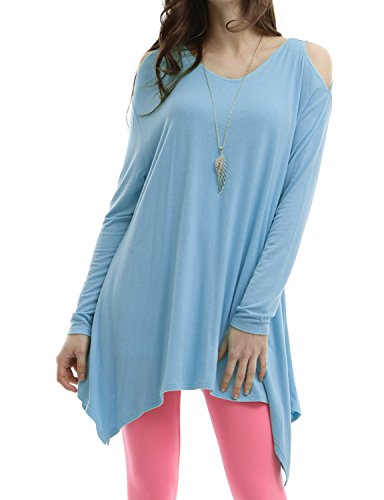 Doublju Women Stretchy Cut Out Shoulder 3/4 Sleeve Top SKYBLUE,M