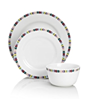 12 Piece Graphic Spotted Dinner Set