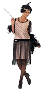 Smiffy's 1920s Coco Flapper, Peach/Black, Large