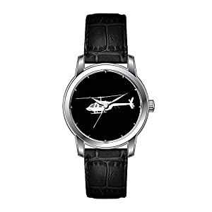 AMS Christmas Gift Watch Women's Vintage Design Leather Black Band Wrist Watch Helicopter Chopper Silhouette Flying Wrist Watch