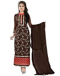 Lookslady Women's Net Semi Stitched Salwar Kameez Suit (5000071454_Brown)