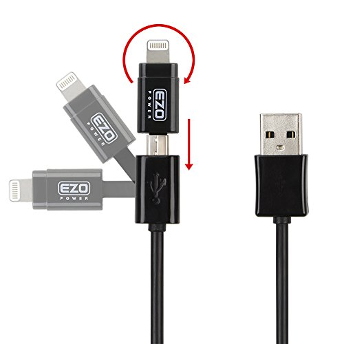EZOPower 2 in 1 Apple Certified 8-Pin Lightning Connector + Micro-USB Sync & Charge Cable for iPhone 6 / 6 Plus / 5 / 5S / 5C, iPad Air, iPad Mini with Retina Display, iPad 4, iPad Mini, iPod Touch 5, Nano 7 and Any Micro USB Powered Device