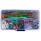 Bluecell Knitting Accessory Kit Basic Tool Set & Plastic Clear Color Tool Case