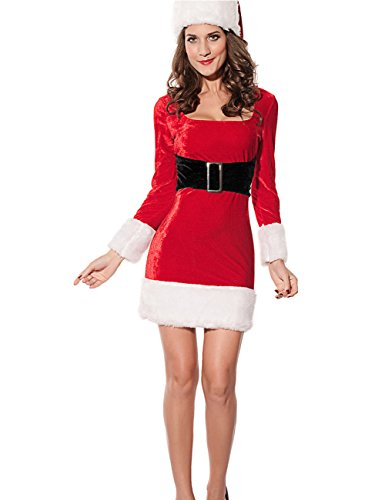 Crazy Women's Sexy Santa's Wife Claus Dress Costume And Hat