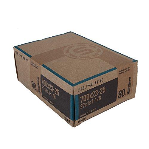 Sunlite Standard Presta Valve Tubes, 700 x 23 - 25  / 80mm, Black