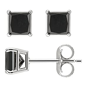 PARIKHS Princess cut Black Diamond Stud AAA Quality in White Gold (0.25ct)