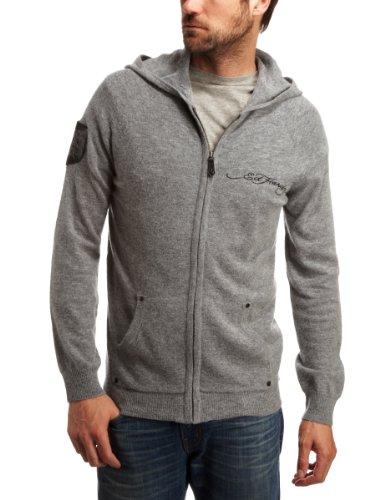 Ed Hardy Eagle Hardy Life Knit Hoodie Mens Sweatshirt Heather Grey XX-Large
